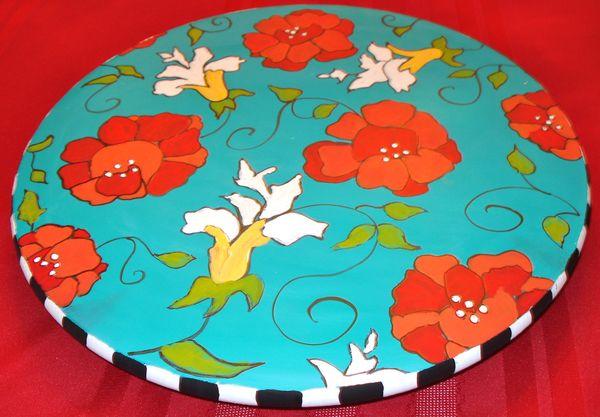 Painted Lazy Susan 24\u201d  Painted Turntable  Whimsical Painted Lazy Susan hand painted home decor