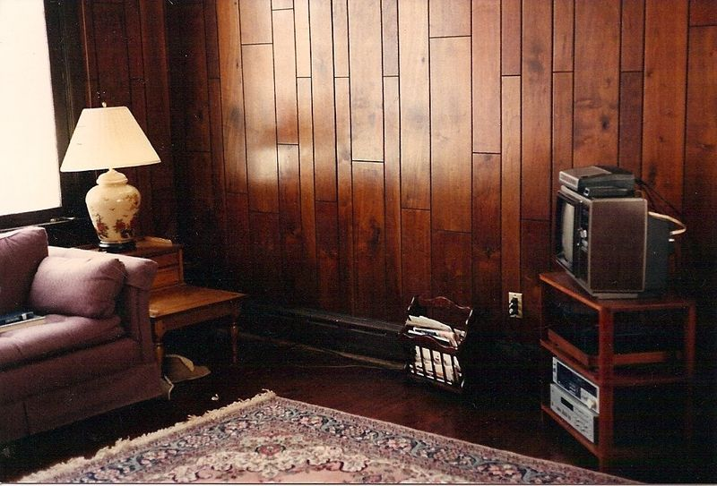 Wood paneling in dining room