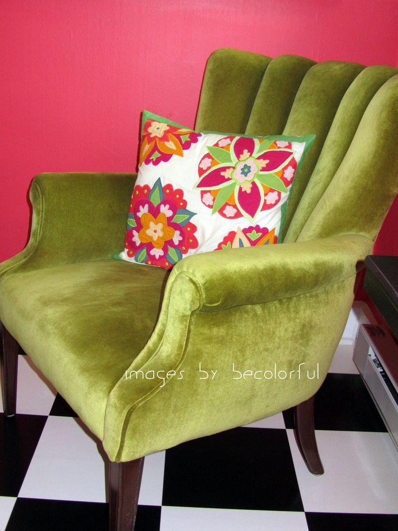 Office green velvet chair