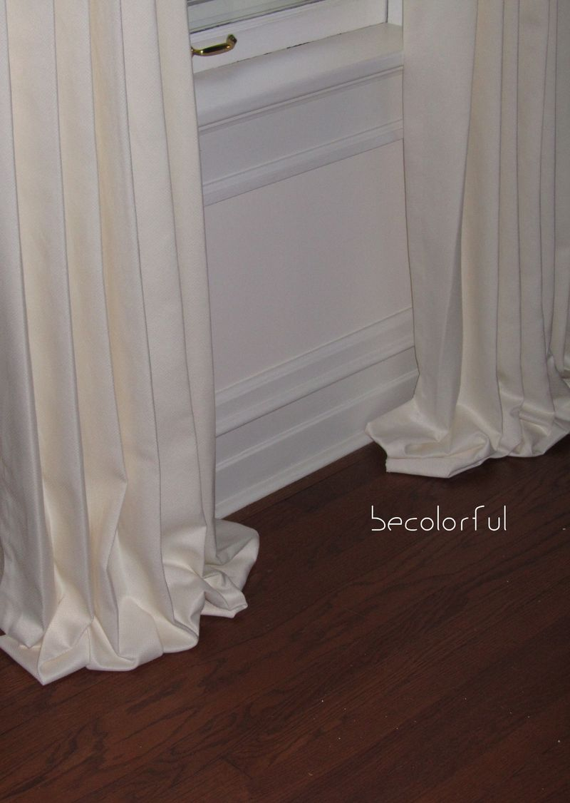 Living room redo puddled draperies