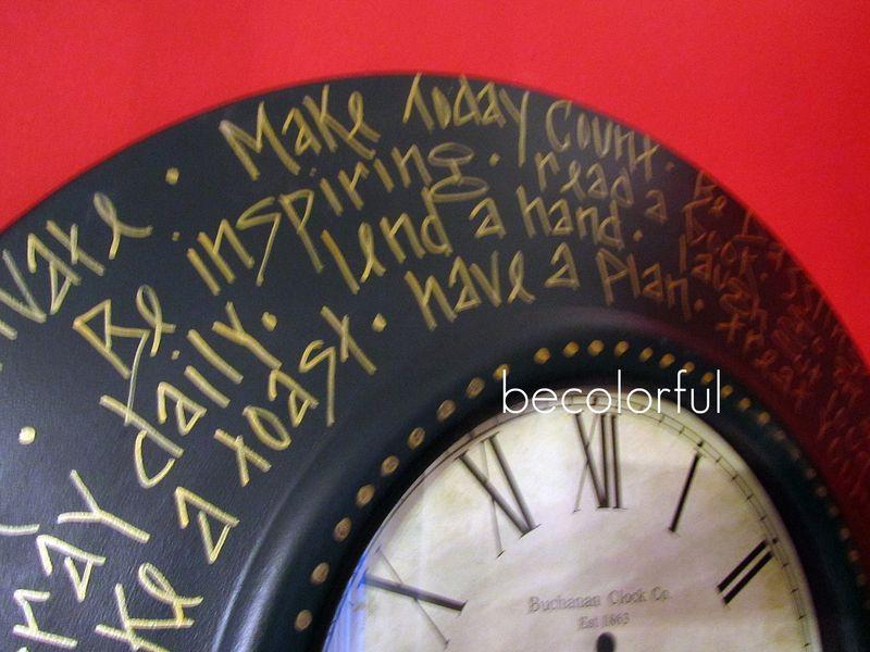 Trav door 2010 fall clock with words round close up
