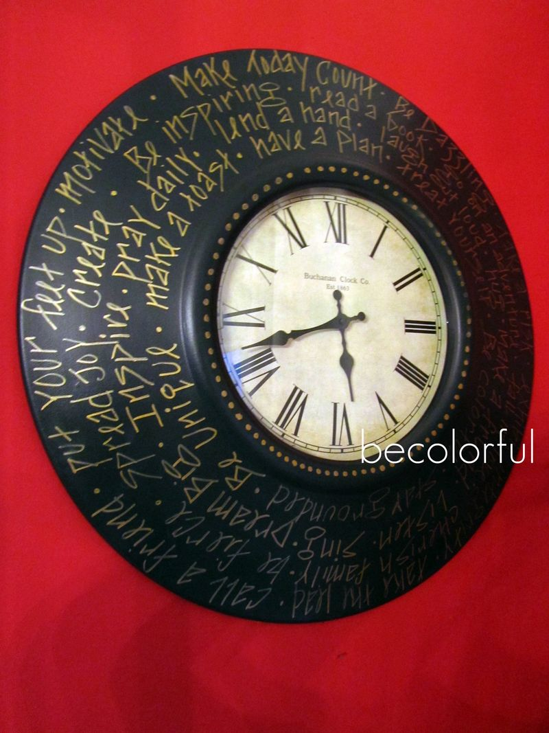 Trav door 2010 fall wall clock round with words 2010  off sides