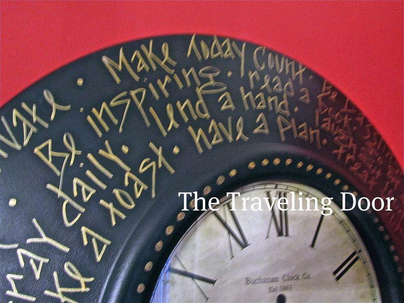Trav Door 2010 clocks wall words close up