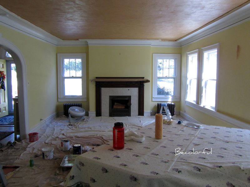 Living room morph ceiling paint with old wall color