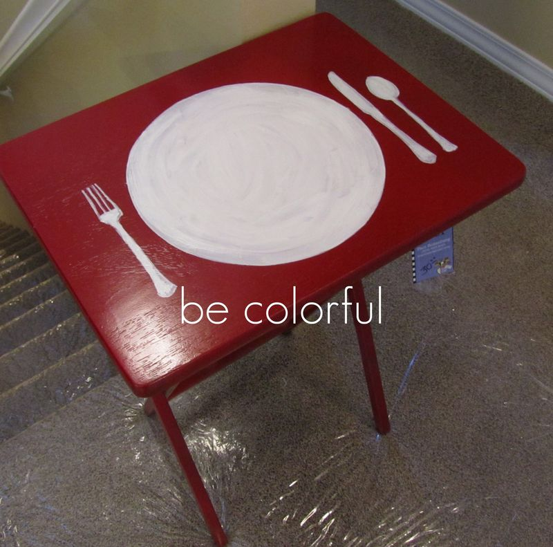 TV Tray Red placesetting