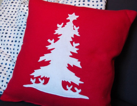 Red with white tree by rain drop designs