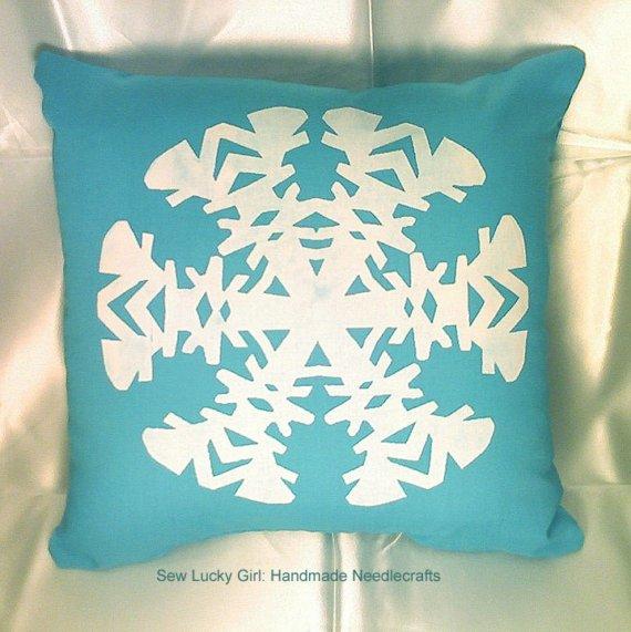 Sew Lucky girl aqua snowflake
