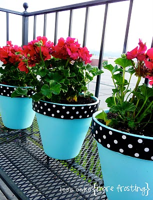 10-Teal Flower Pots less cake more frosting