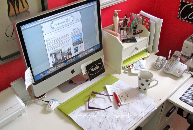 Office desk top full shot
