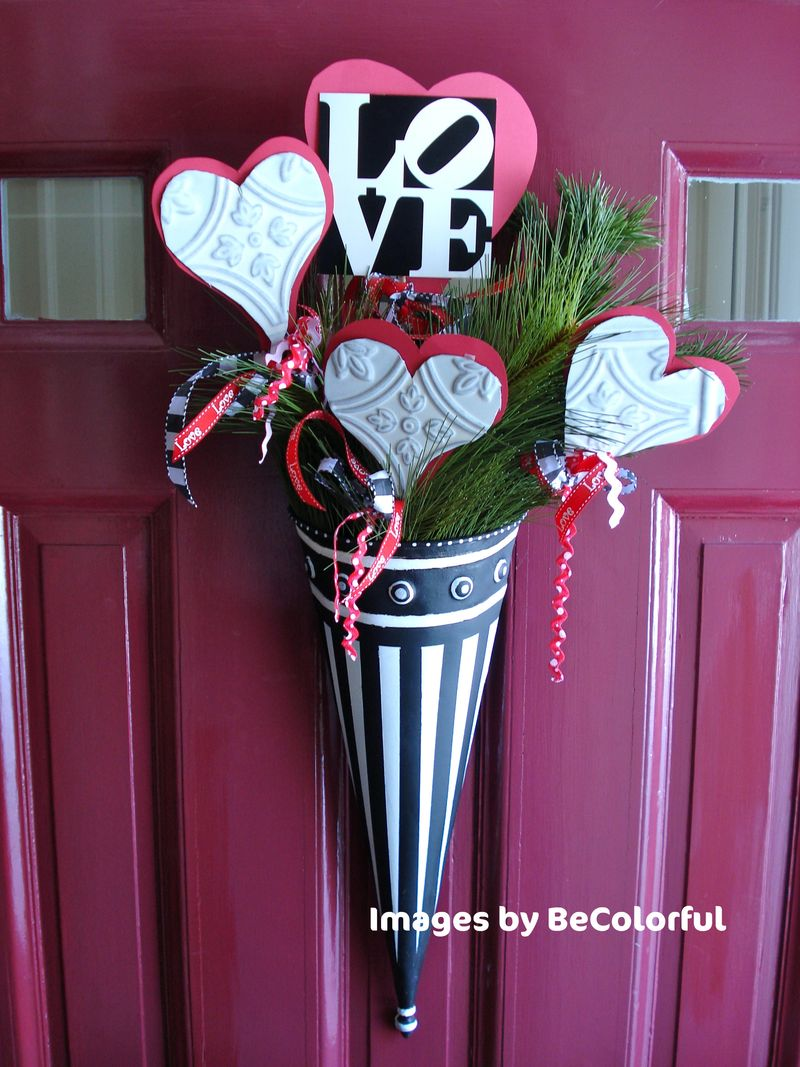 Front door red with Valentine arrange