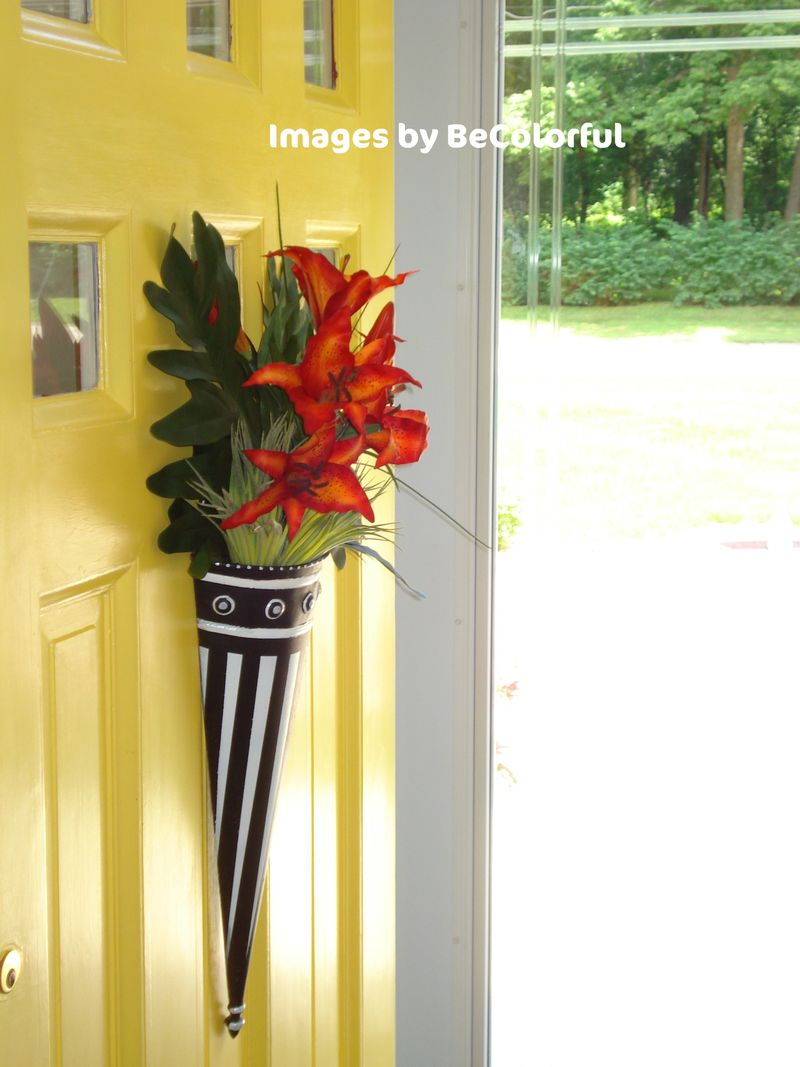 Front door yellow with summer flair