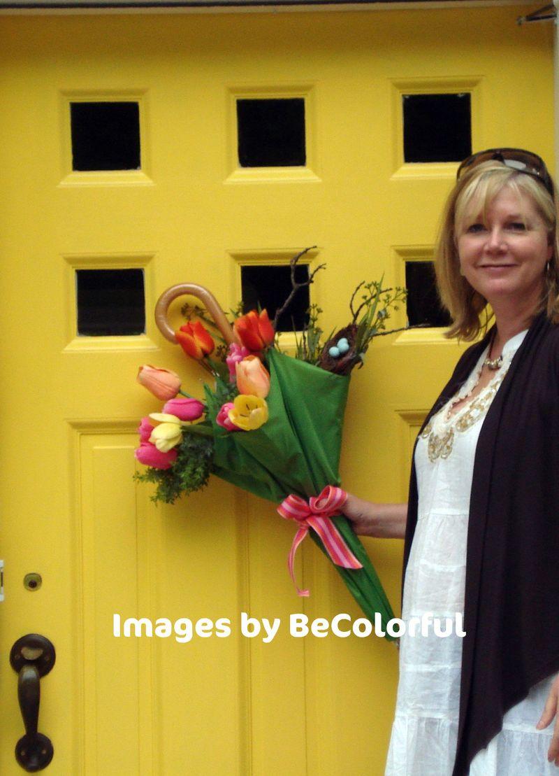 Front door yellow with umbrella arange