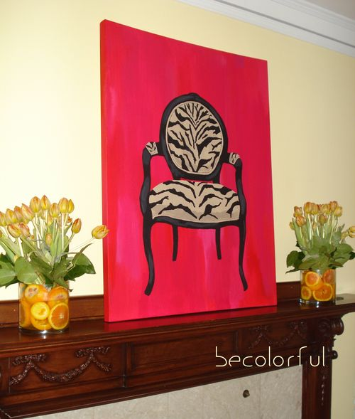 Mantel chair canvas with tulips