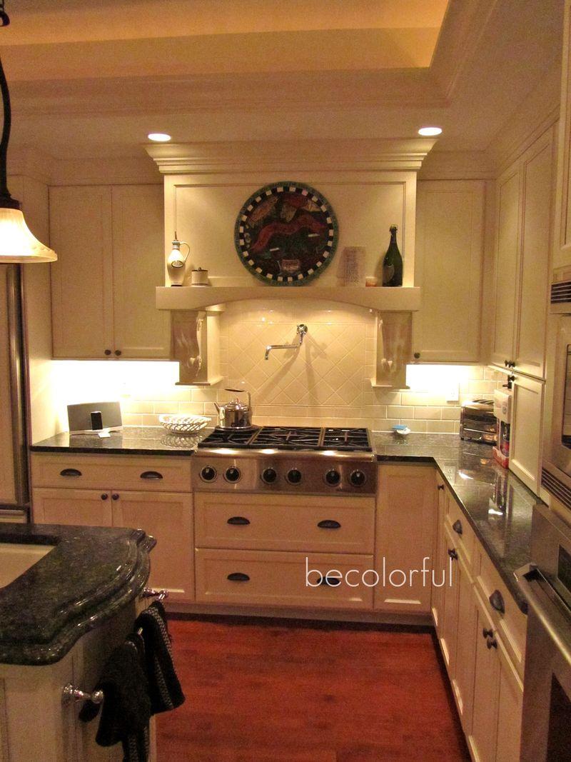Kitchen night shot toward stove