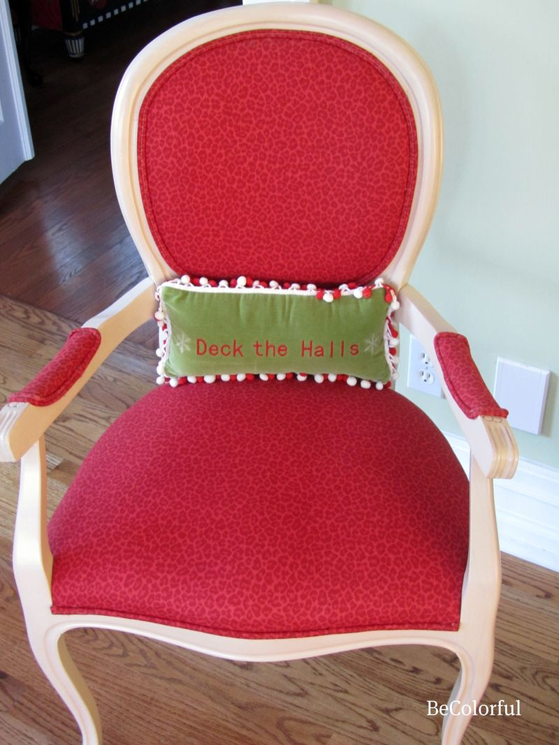 Red chair Deck the Halls