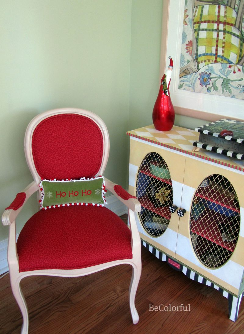 Red chair with cupboard
