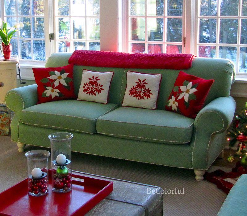 Green sofa close up