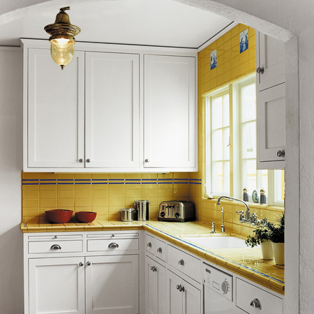 Kitchen design yellow tile and walls