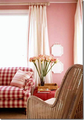 Costal living living room pink with red