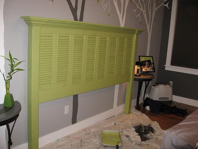 Green shutter headboard
