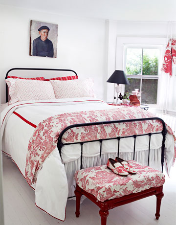 House beautiful red and white bedroom copy