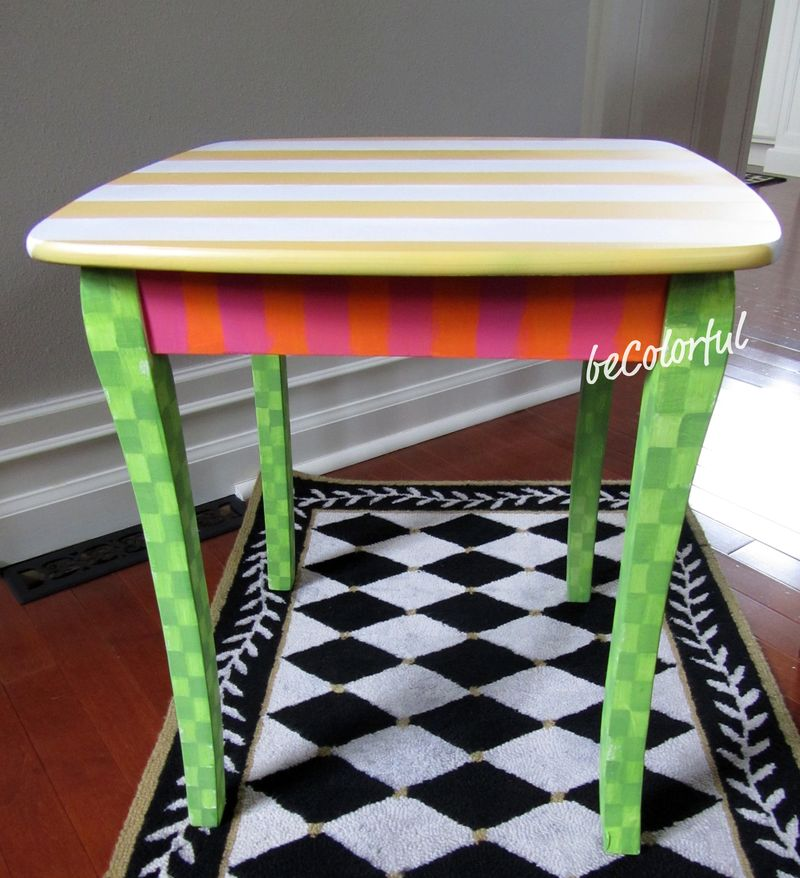 Spring stripes side table straight on