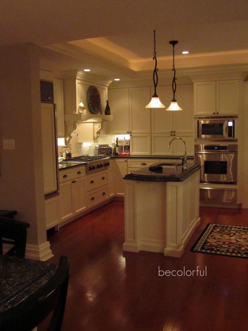 Kitchen night shot towards oven