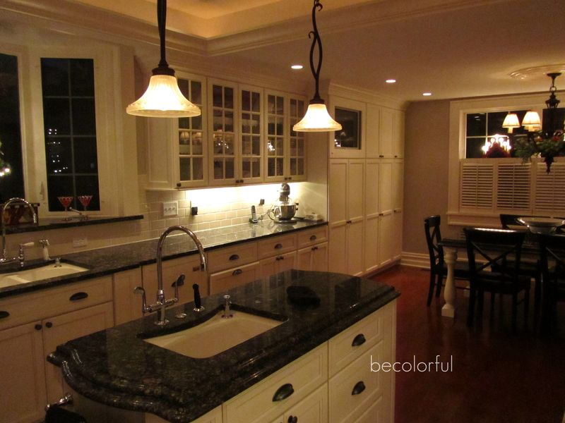 Kitchen across the island night shot