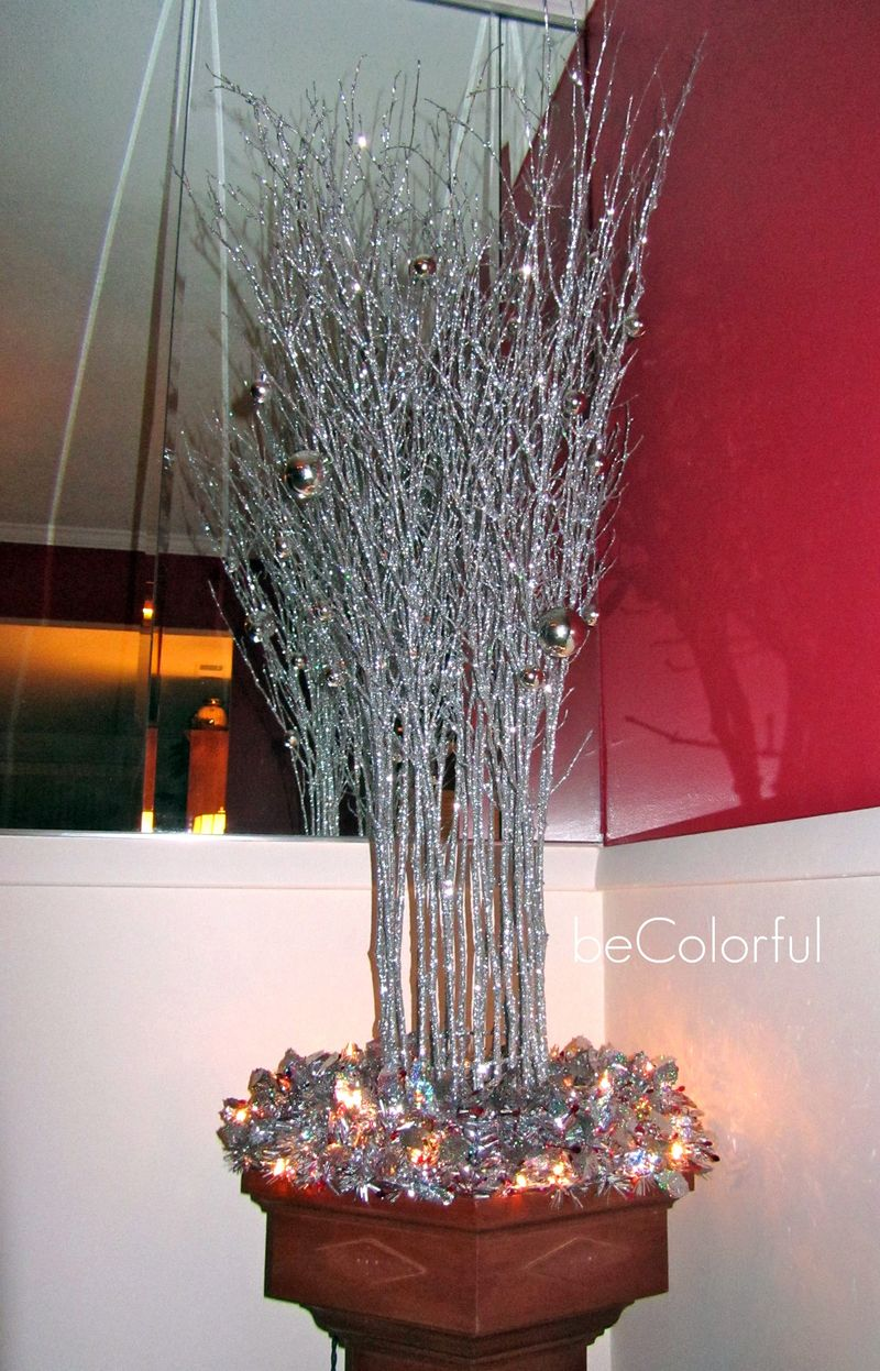 Mom's baptismal font with silver branches