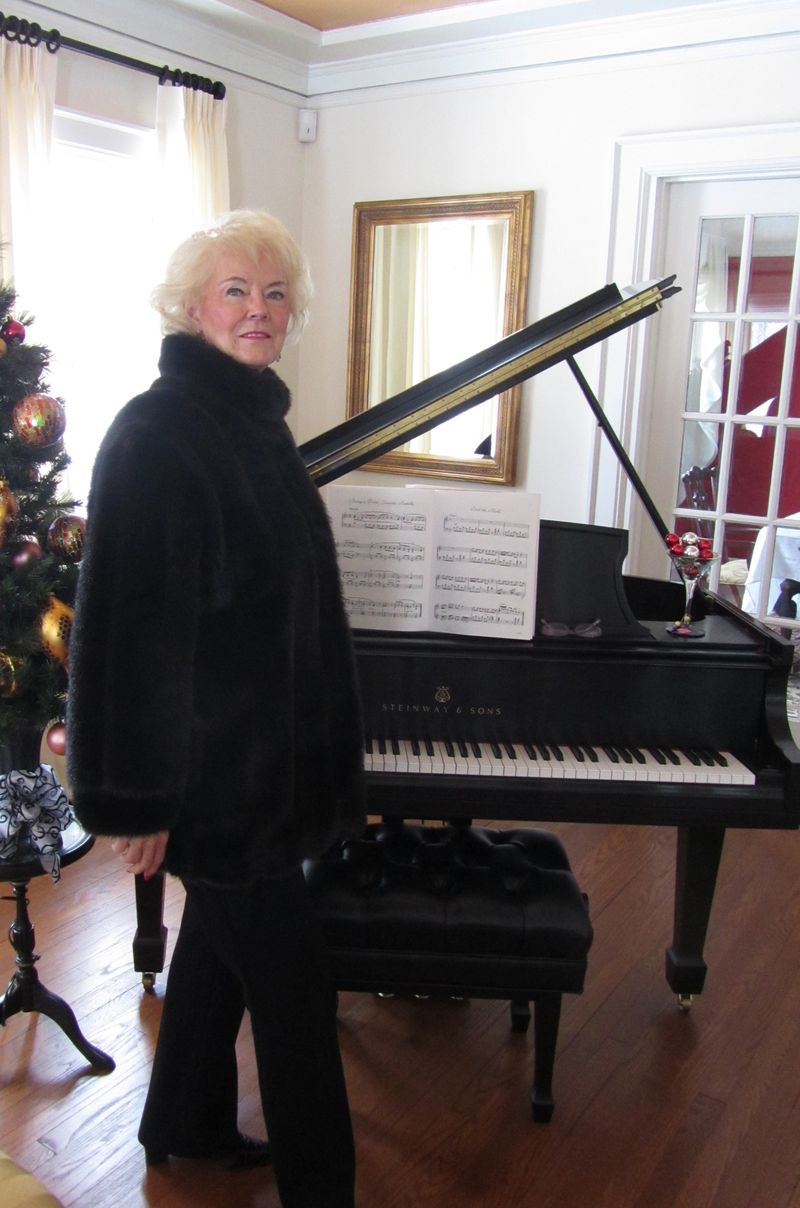 Mom by piano