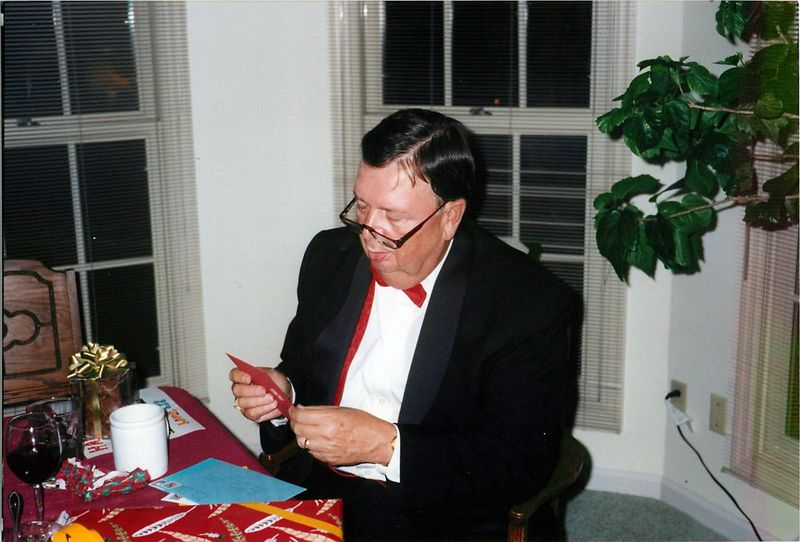 Dad in a tux on his birthday at our house