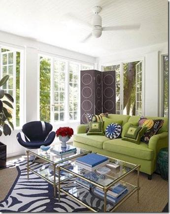 Jonathan adler navy zebra rug with green