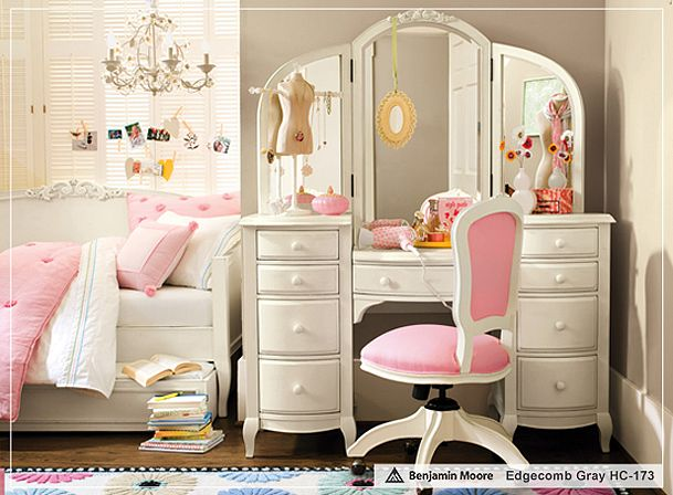 Pink accents with gray Pottery Barn