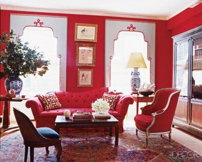 Elle decor red living room