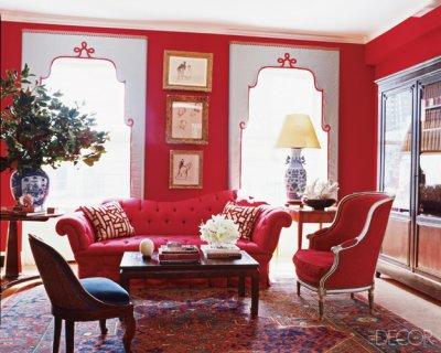 Elle decor red living room