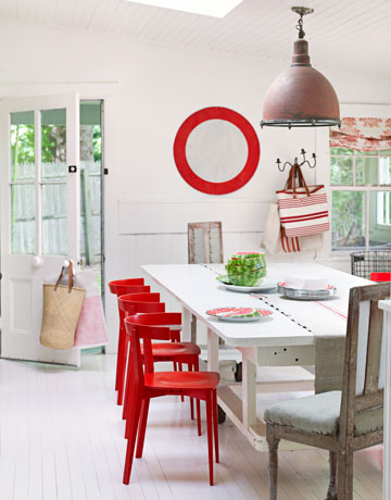 House beautiful red chair dining room copy
