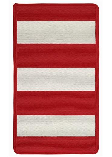 Red stripe rug pop of red