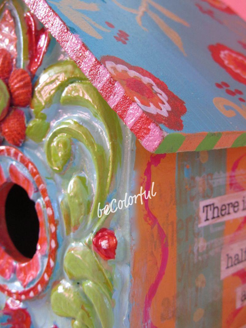 Sue's birdhouse corner close up
