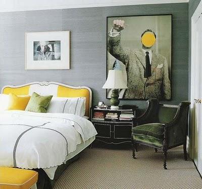 Gray and yellow decor pad
