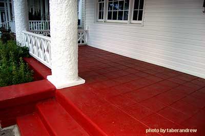 Front porch ideas red porch floor