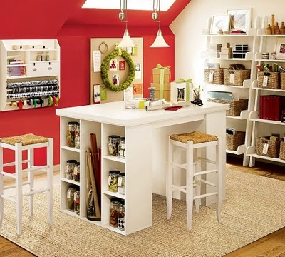 Red craft room leafy treetop spot