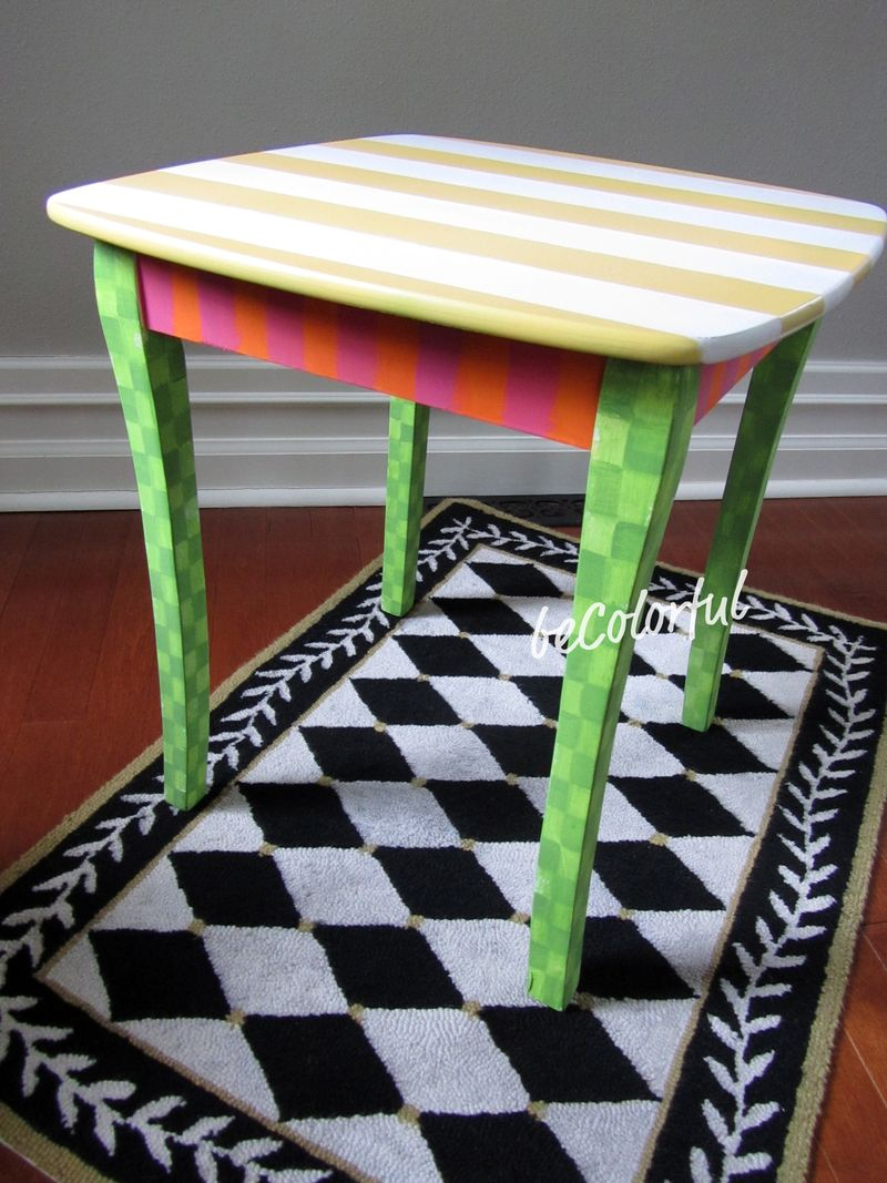 Spring stripes side table angle view