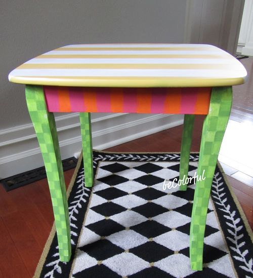Striped side table front view
