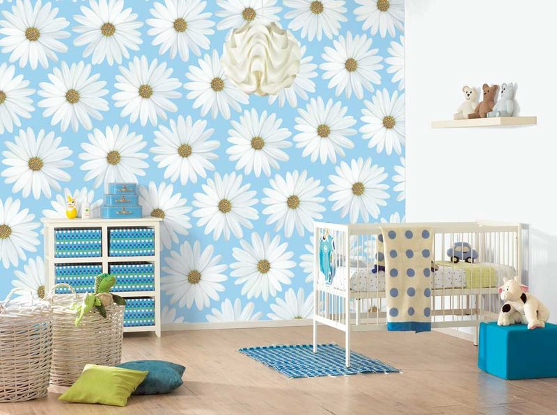 Wall-design-idea-blue-white-flower-for-infant-baby-room-wall-decor