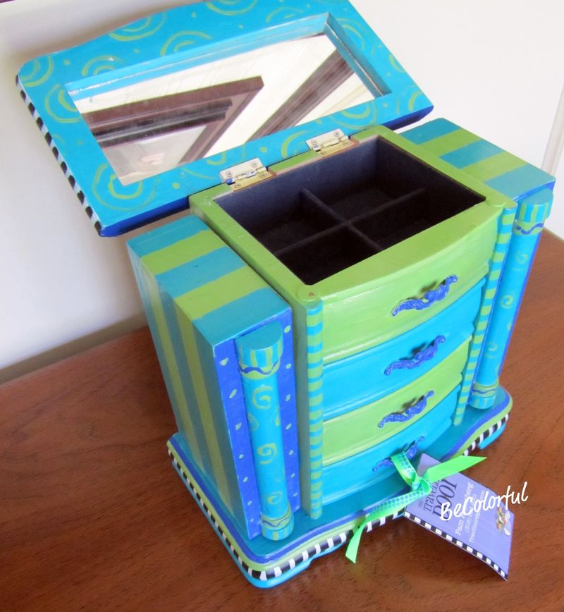 Jewelry box aqua open lid only