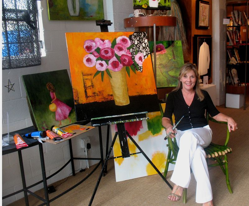 Kathy and paintings