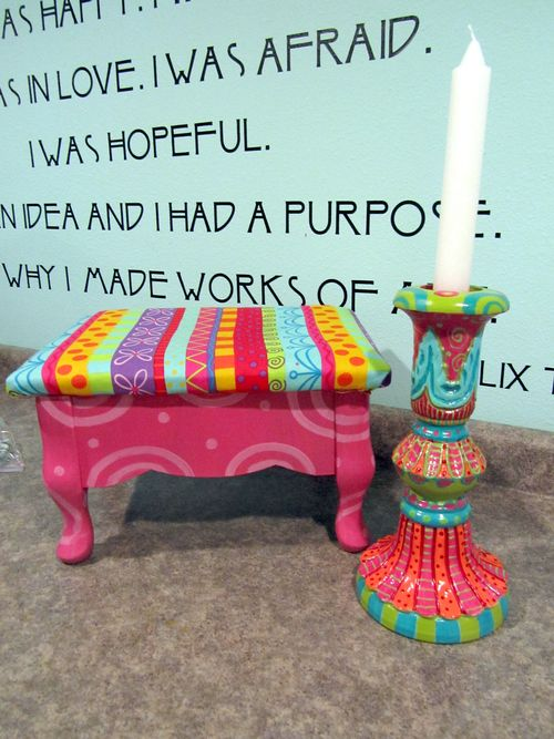 Dori footstool and sue's candlestick