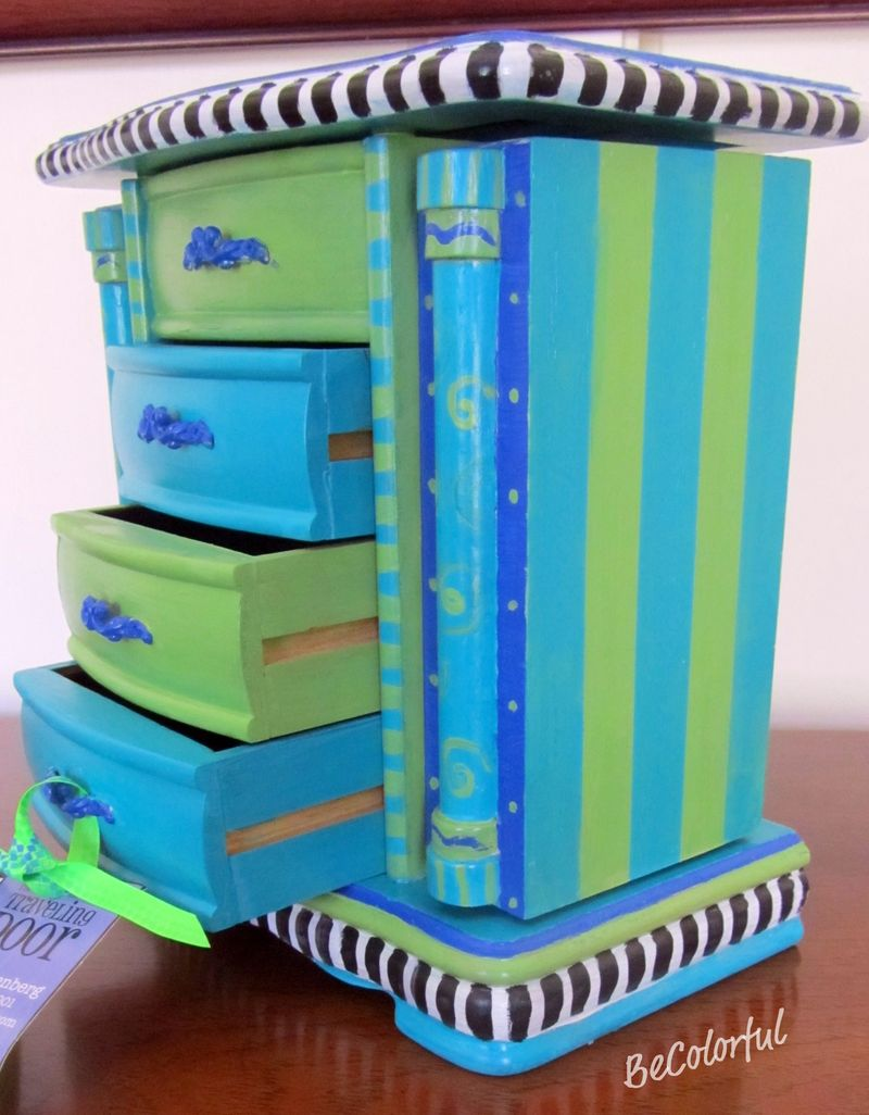 Jewelry box aqua drawers open angle view