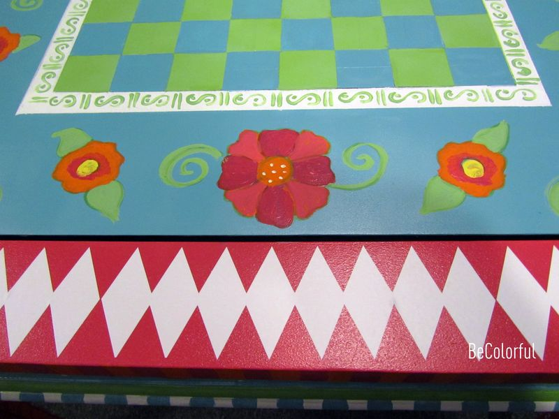 Cindy hills  game table close up of argyle and flowers