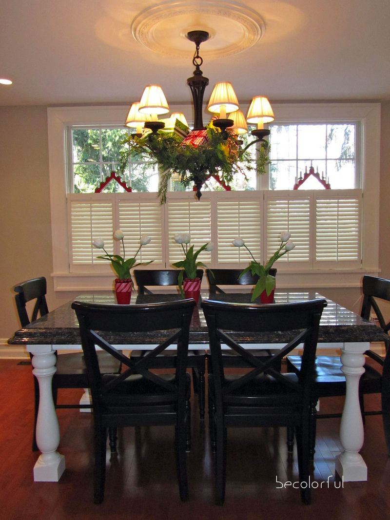 Christmas kitchen chandelier full toward window
